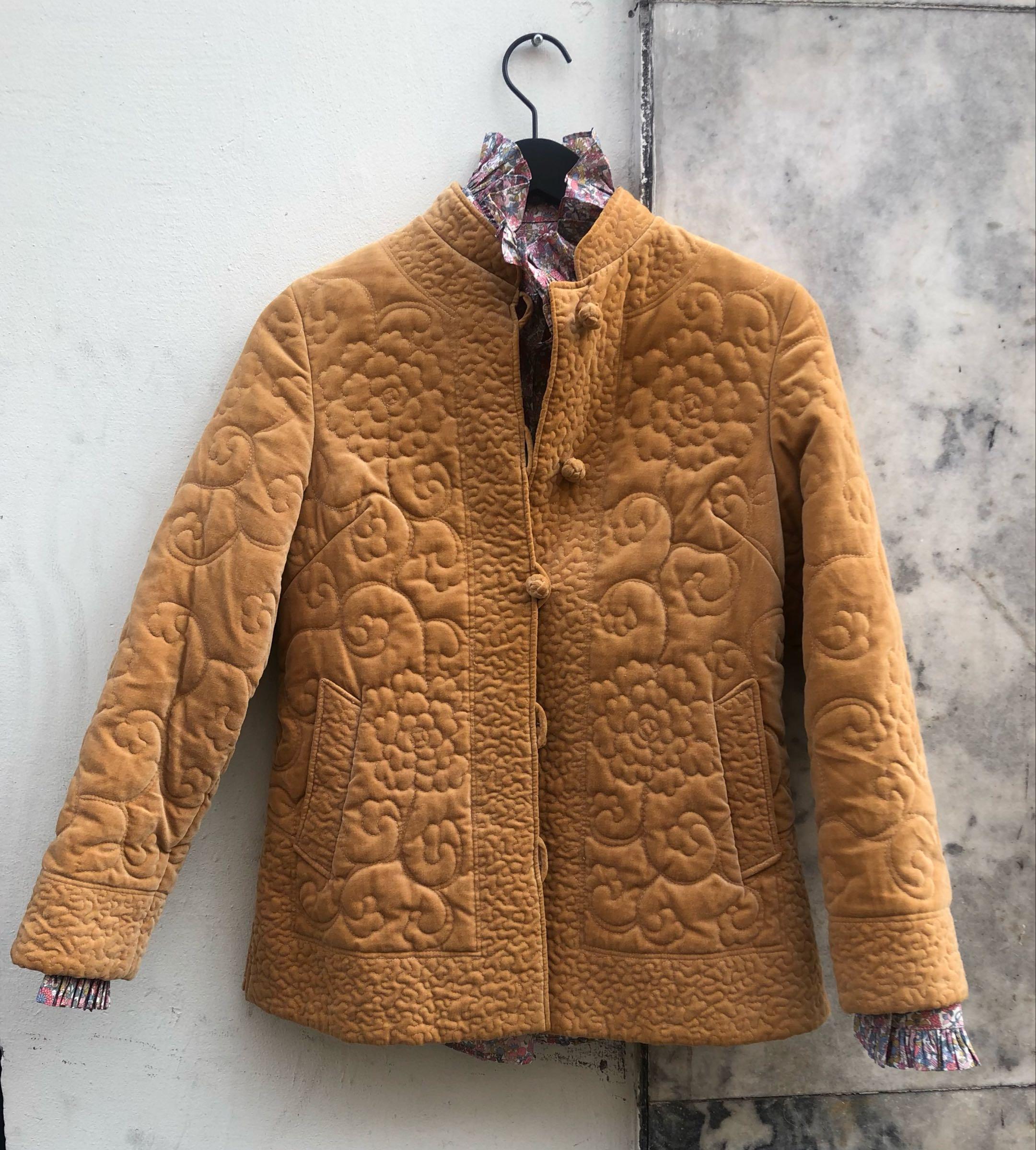 Myre Couture velvet quilt jacket  mustard
