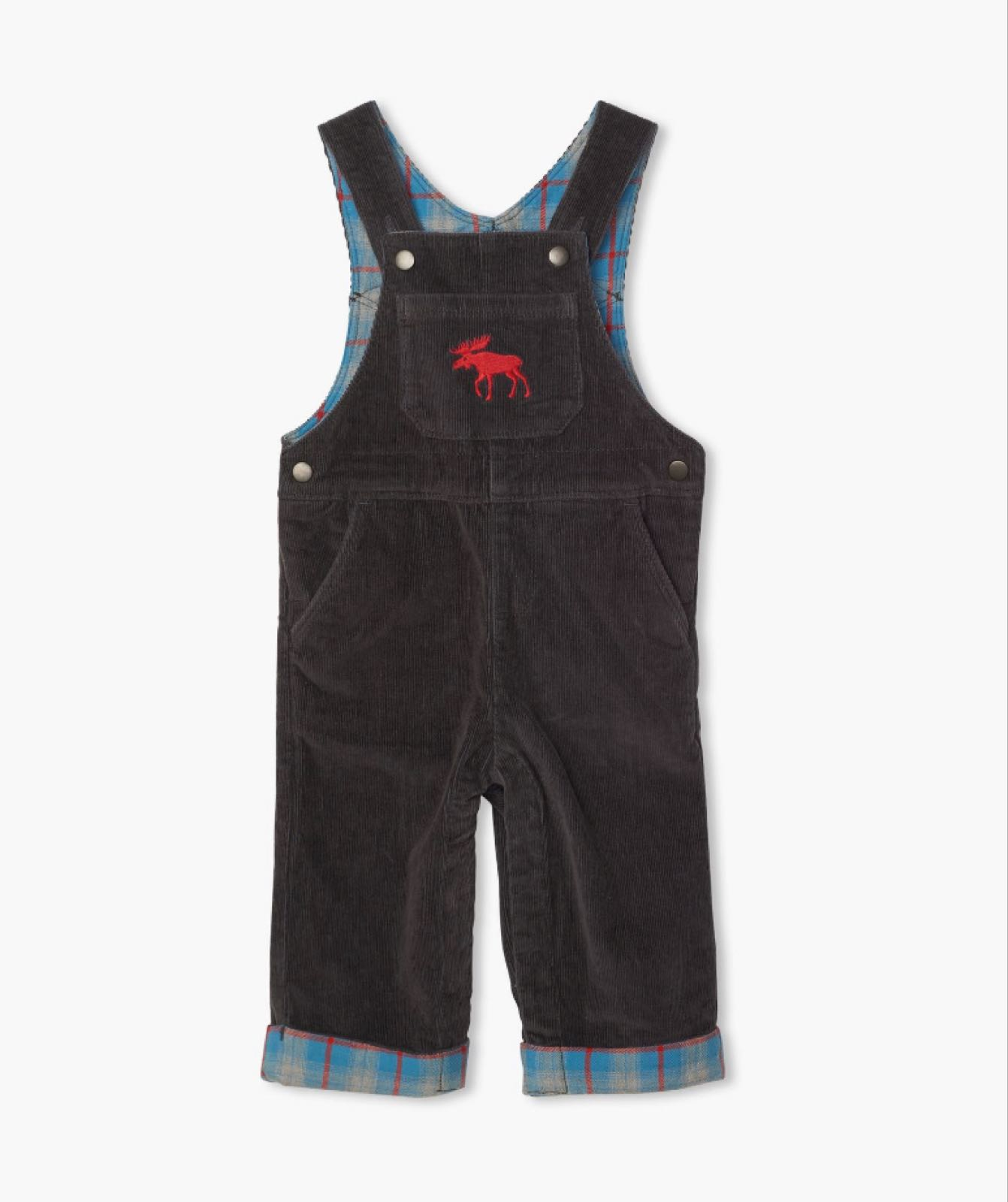 Hatley Grey Stretch Cord Baby Overalls