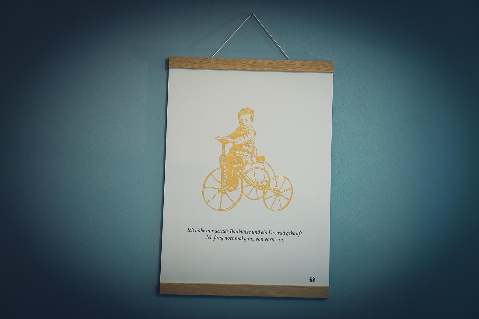 Poster Dreirad - Golddruck