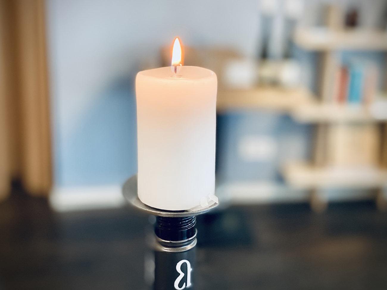 Geschmiedeter Flaschen-Kerzenhalter mit 6 Stumpen
