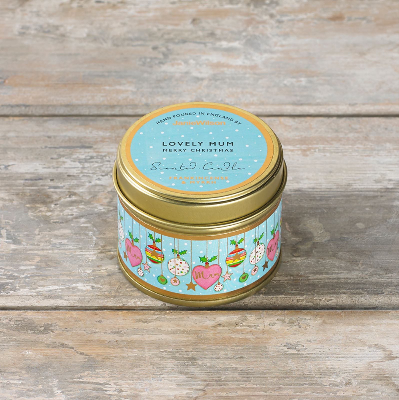 Janie wilson Lovely mum fragranced frankincense and myrrh tinned small candle (matching card available)
