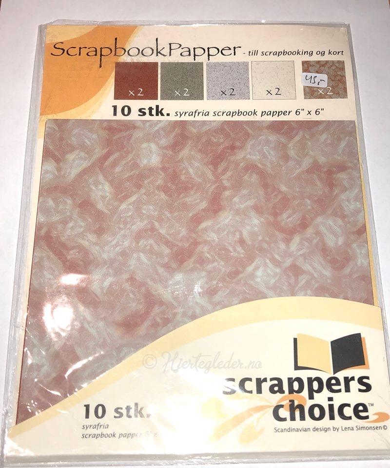 Scrapbookpaper 10 stk 15x15 cm