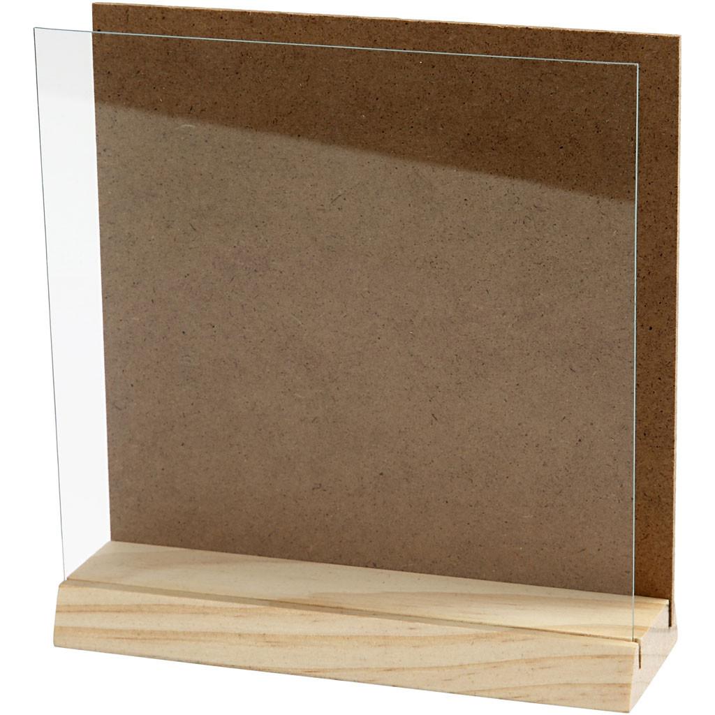 3 D plate med glass 15x15 cm