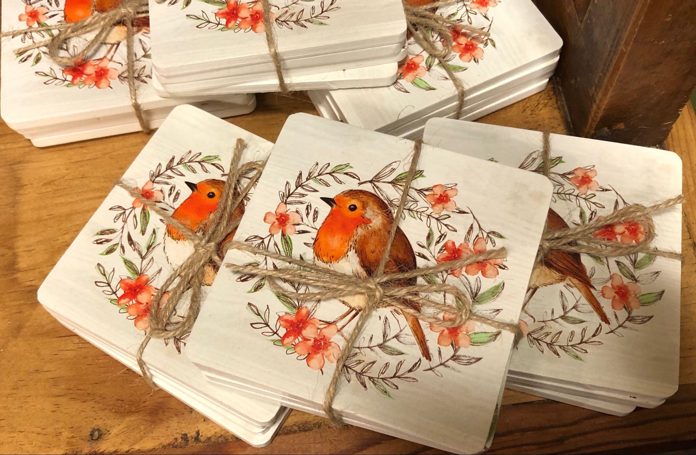 Robin set of coasters