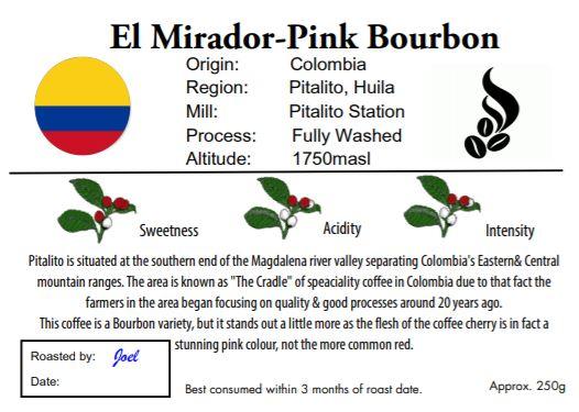 El Mirador - Colombia - Pink Bourbon 125g or 250g