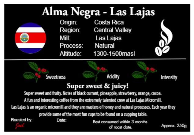 Alma Negra - Las Lajas - Costa Rica 125g or 250g