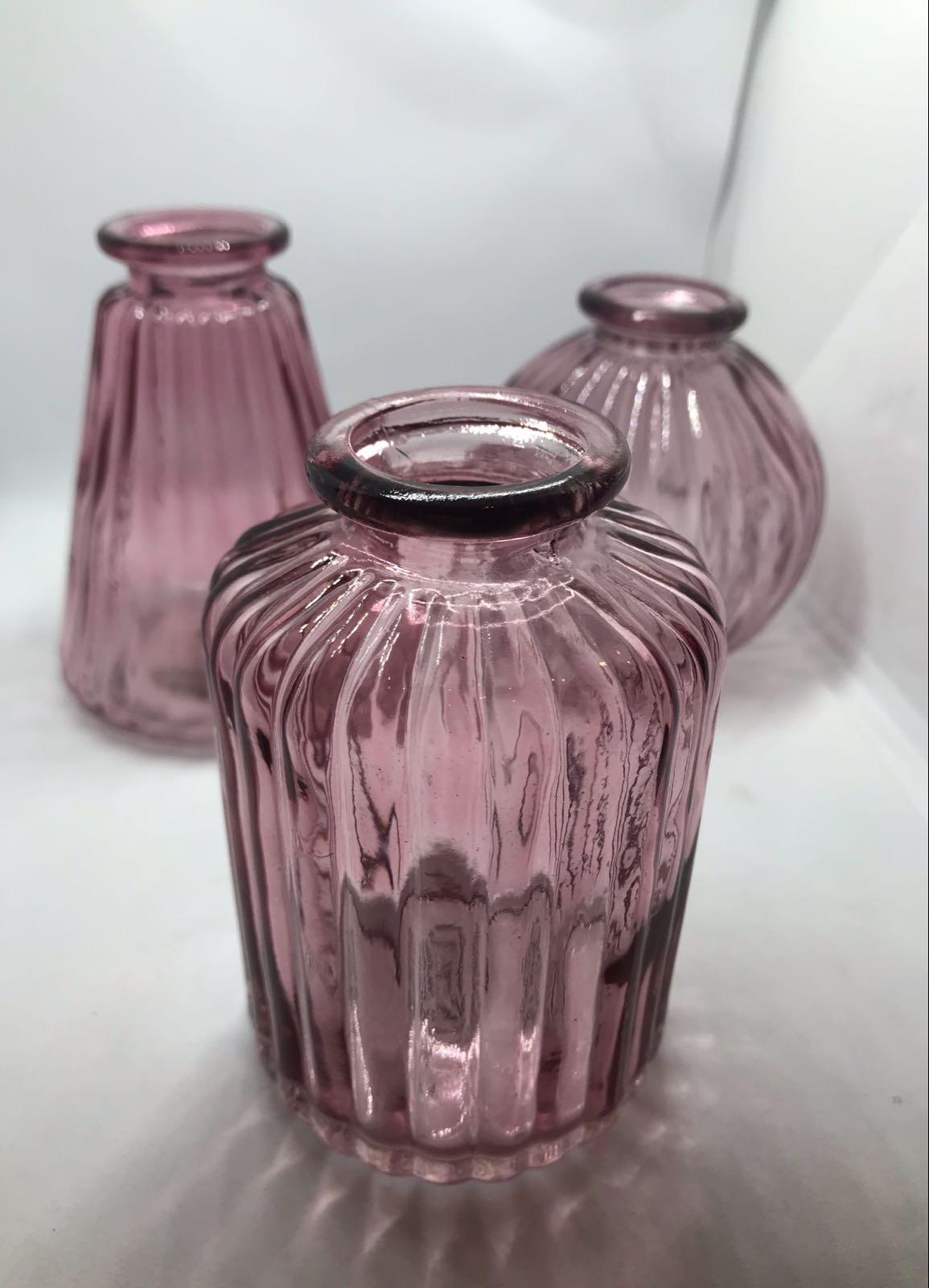 Pink glass bud vases set of 3