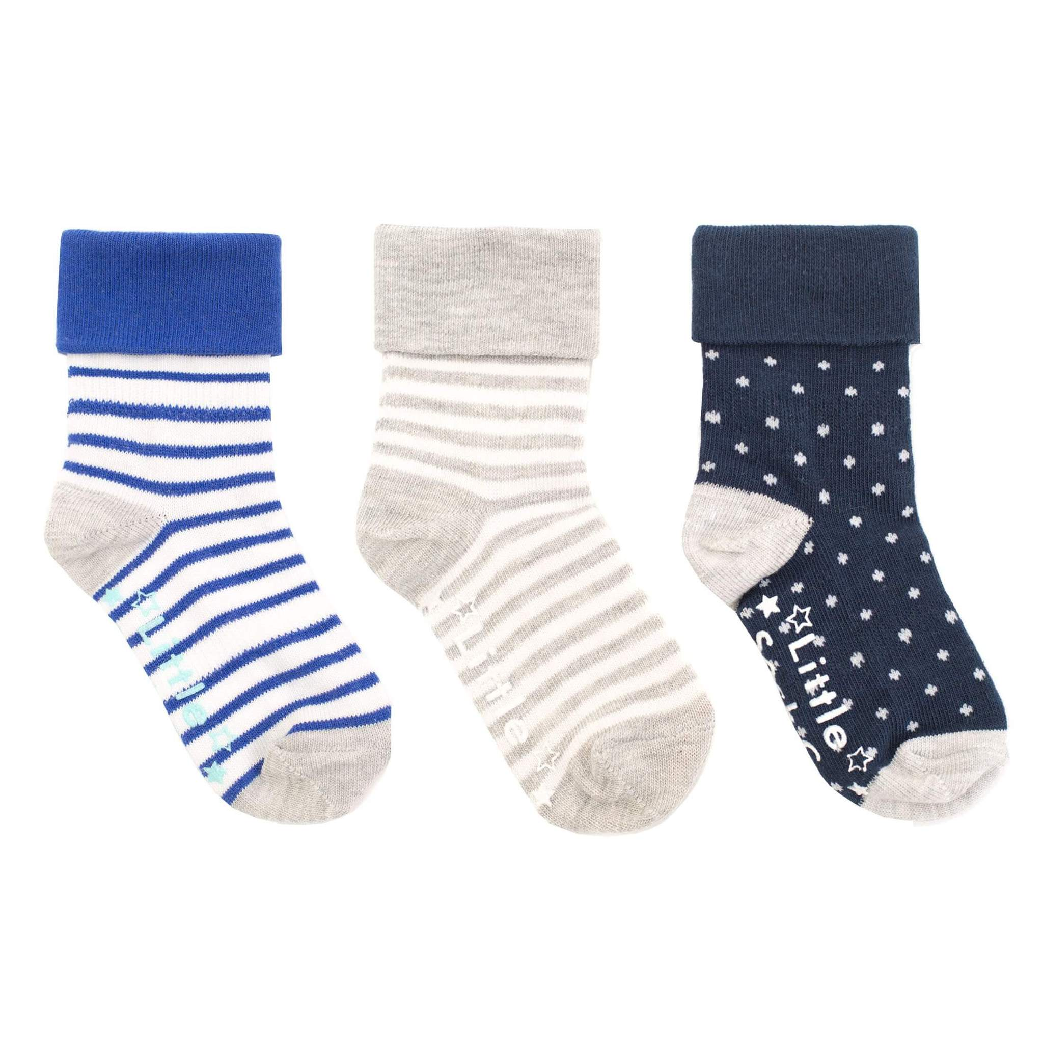 NON - SLIP STAY ON SOCKS - (3 PAIR) MARINE BLUE AND WHITE WHITE WIDE STRIPE, NAVY WITH A WHITE PIN DOT AND GREY MARL AND WHITE STRIPE