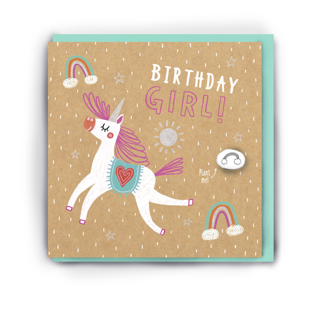 """BIRTHDAY GIRL"" UNICORN BIRTHDAY CARD WITH A PLANTABLE MAGIC BEAN"