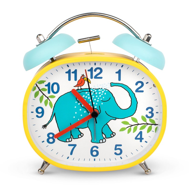 CLOCK - ELEPHANT DESIGN CHILDREN'S ALARM CLOCK · TWIN BELL · SILENT TICK