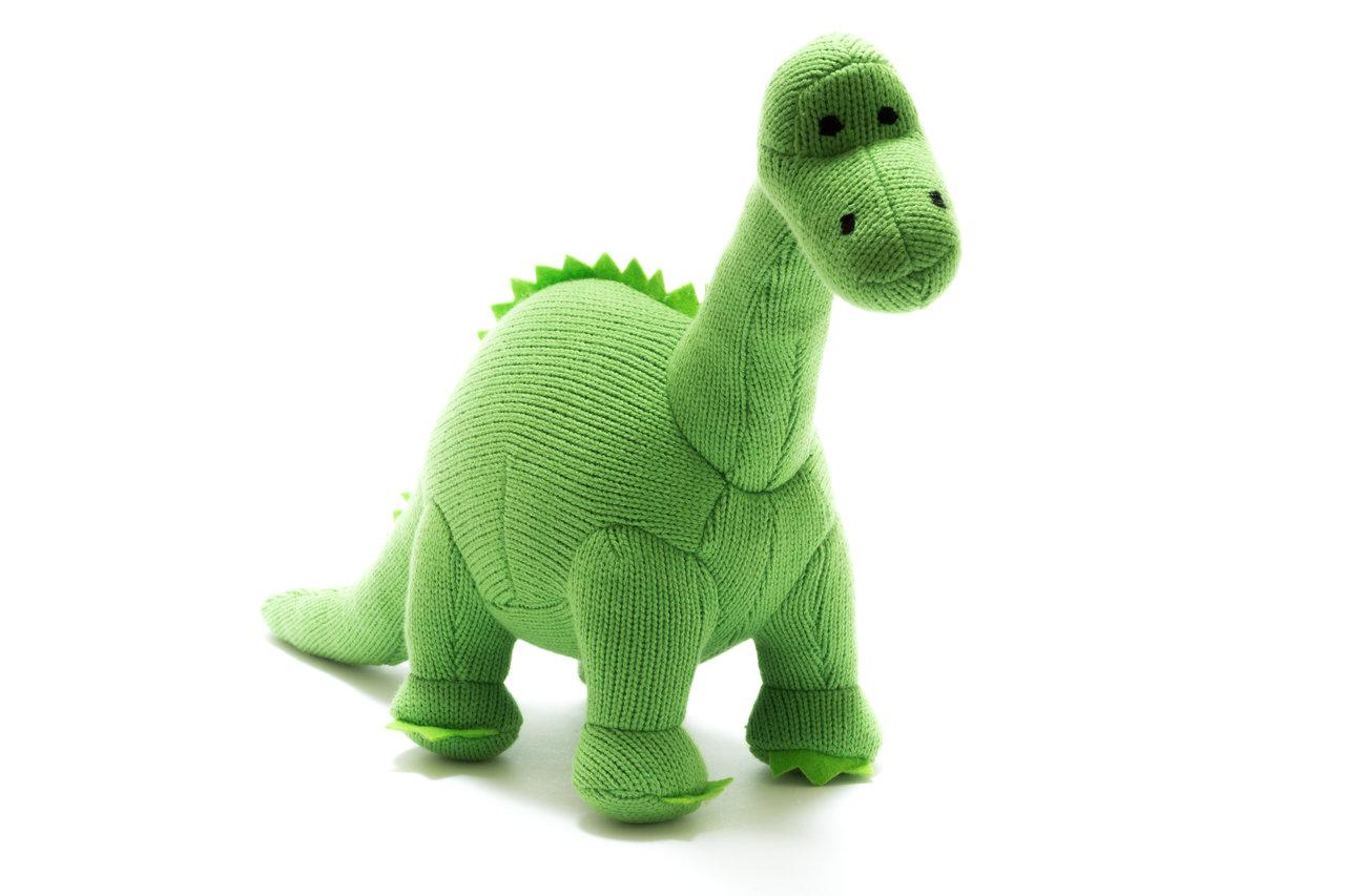 KNITTED GREEN DIPLODOCUS  DINOSAUR SOFT TOY