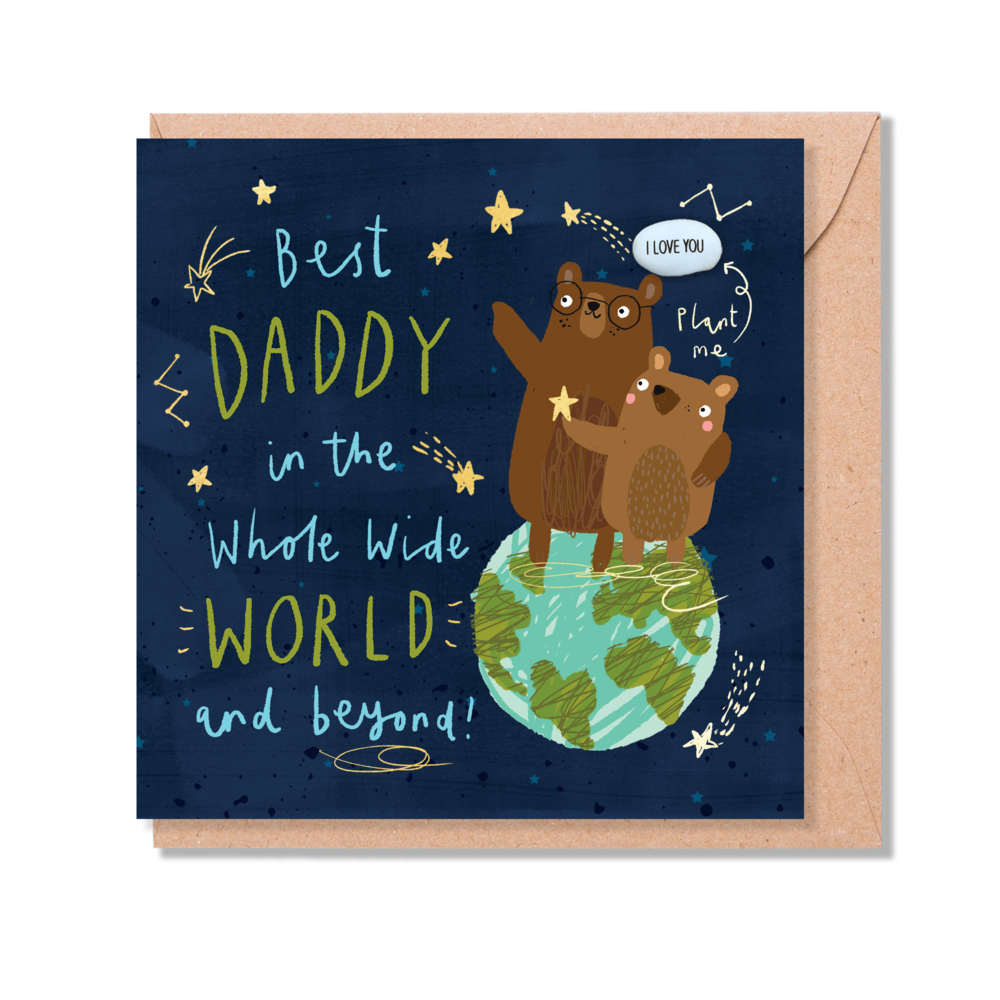 """BEST DADDY IN THE WHOLE WIDE WORLD AND BEYOND"" CARD WITH A PLANTABLE MAGIC BEAN"