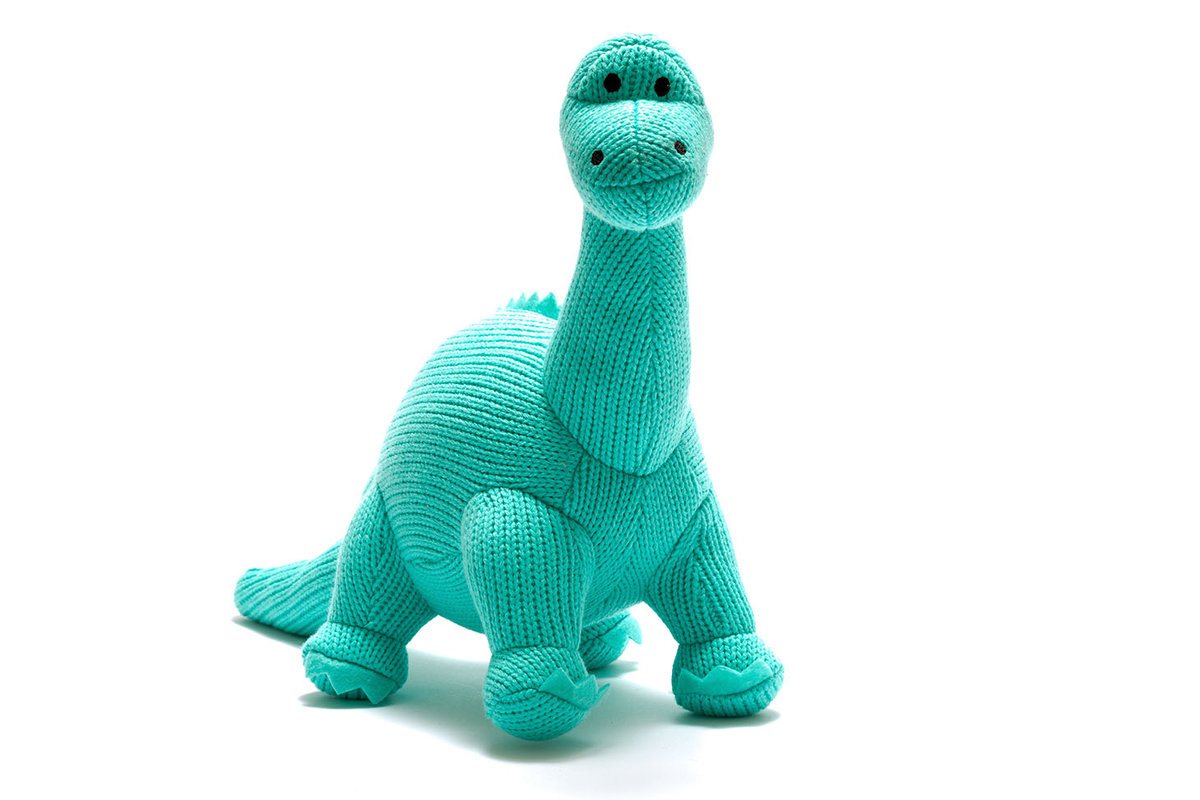 KNITTED DINOSAUR SOFT TOY, ICE BLUE DIPLODOCUS