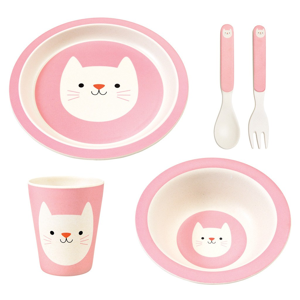 BAMBOO TABLEWARE (SET OF 5) - COOKIE THE CAT