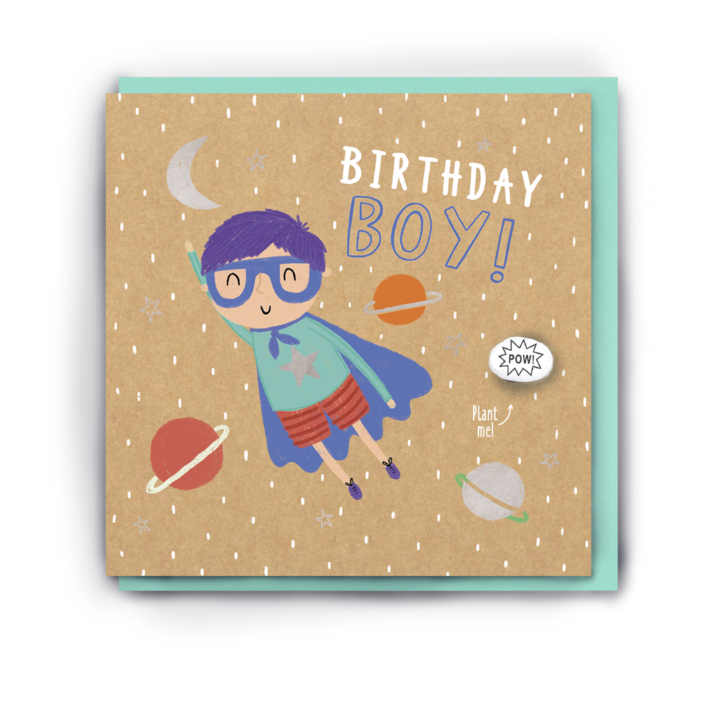 """BIRTHDAY BOY"" SUPERHERO BIRTHDAY CARD WITH A PLANTABLE MAGIC BEAN"