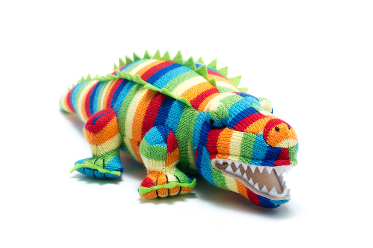 KNITTED COLOURFUL CROCODILE SOFT TOY