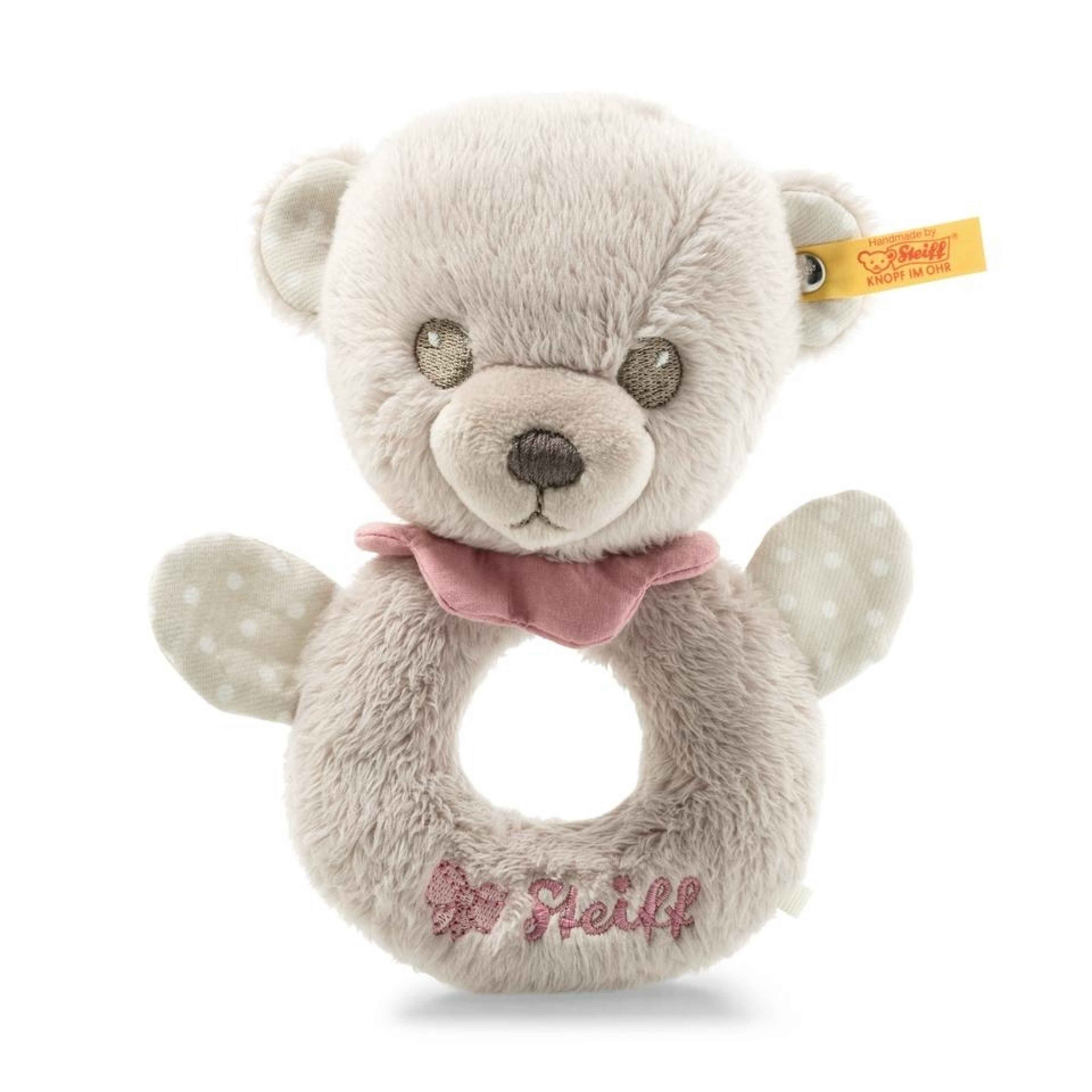 HELLO BABY LEA TEDDY BEAR GRIP TOY WITH RATTLE IN GIFT BOX