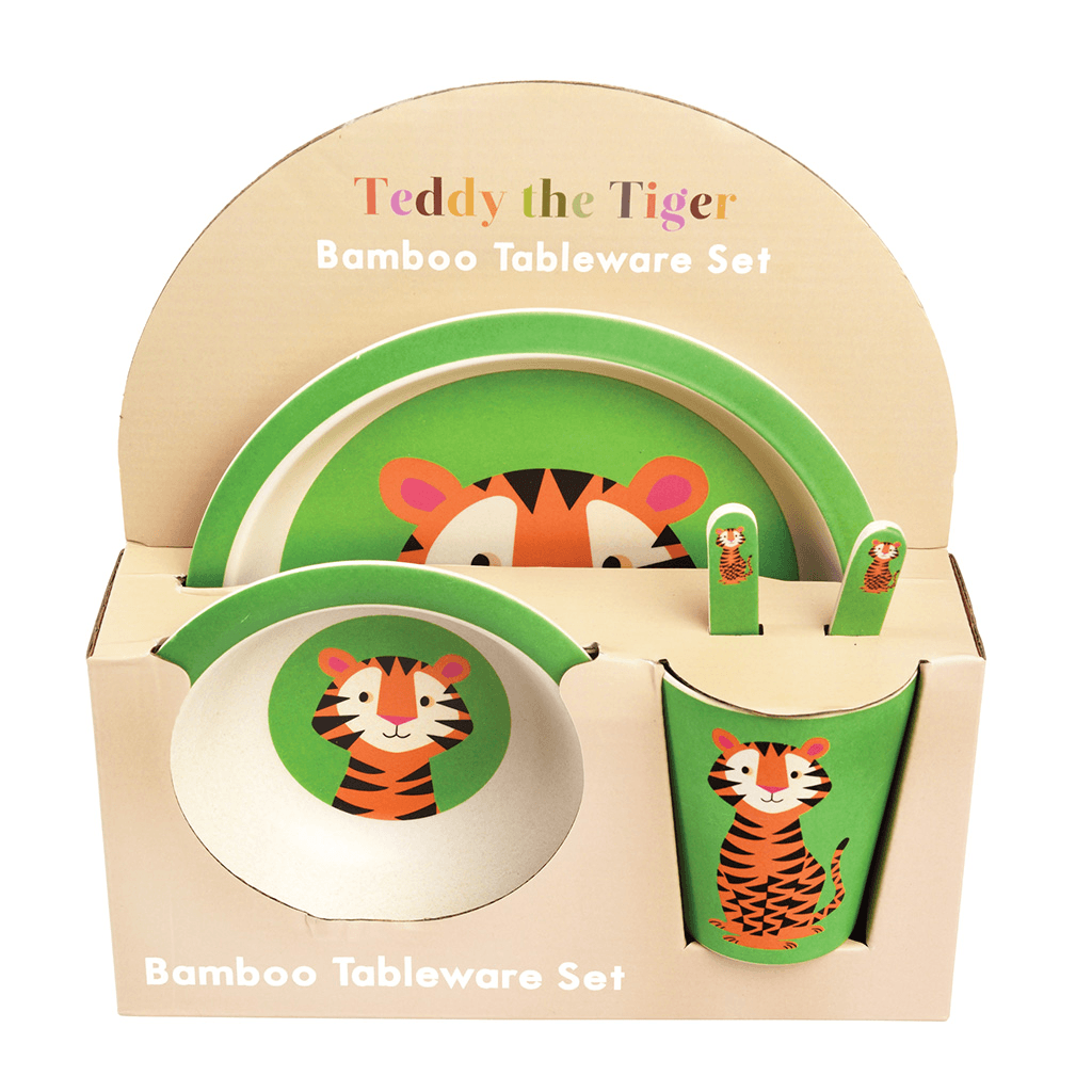 BAMBOO TABLEWARE (SET OF 5) - TEDDY THE TIGER