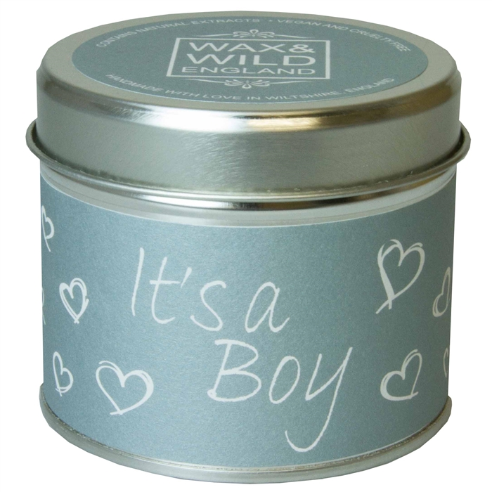 IT'S A BOY CANDLE IN A TIN