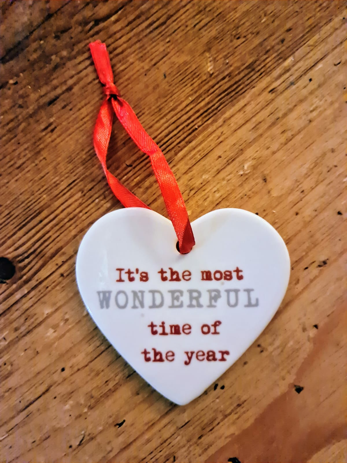 IT'S THE MOST WONDERFUL TIME OF THE YEAR CERAMIC CHRISTMAS HEART