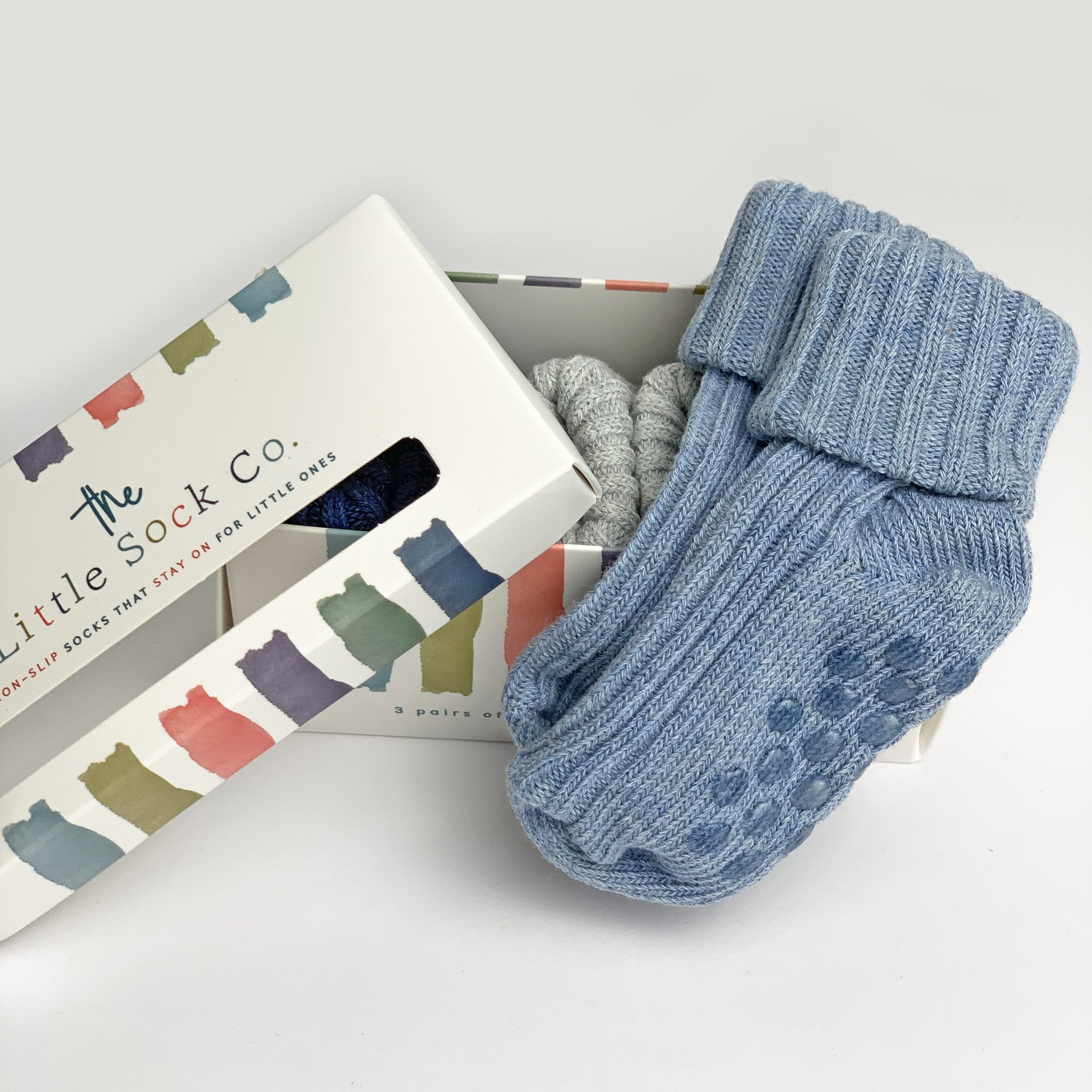 NON-SLIP STAY ON COTTON RIBBIES (3PAIRS) BABY BLUE, CLOUD AND NAVY