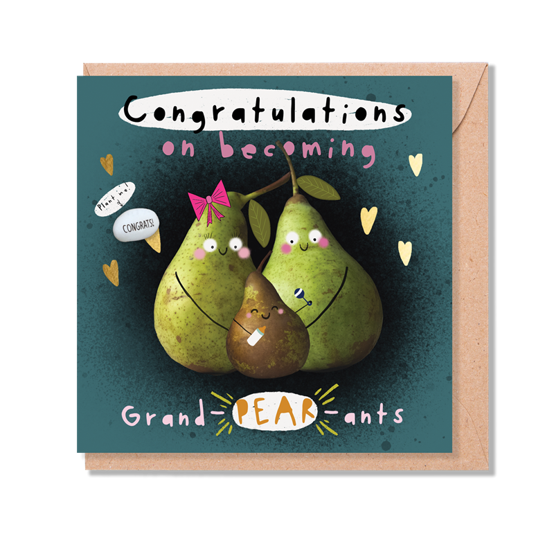 """""""CONGRATULATIONS ON BECOMING GRAND-PEAR-ANTS"""" CARD WITH A PLANTABLE MAGIC BEAN"""