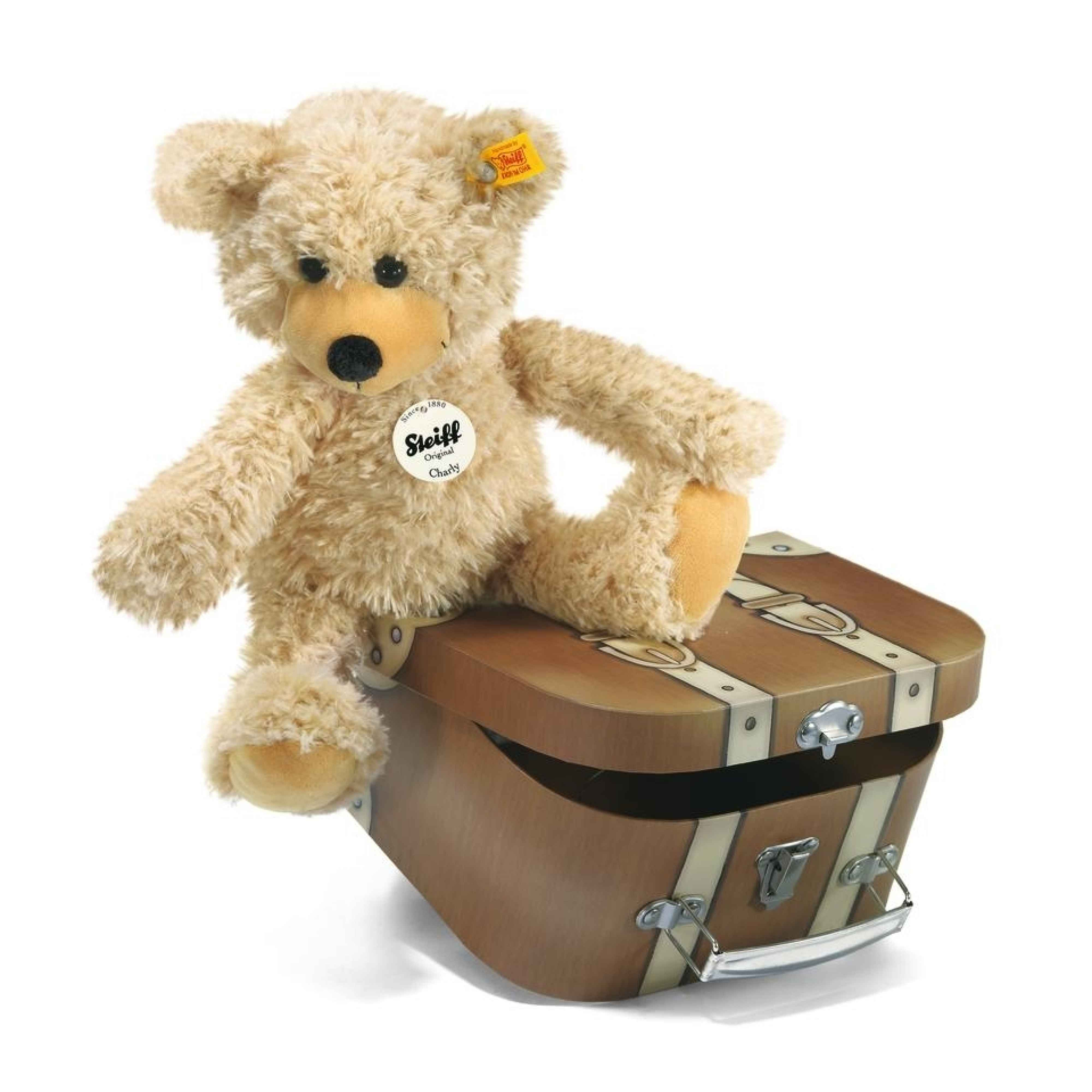 CHARLY DANGLING TEDDY BEAR IN SUITCASE