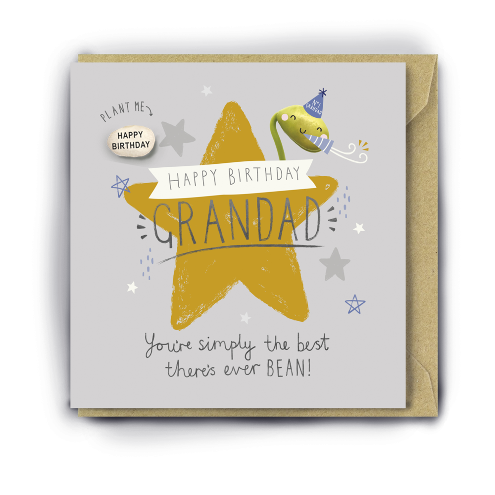 """GRANDAD YOUR'E SIMPLY THE BEST THERE'S EVER BEAN"" BIRTHDAY CARD WITH A PLANTABLE MAGIC BEAN"