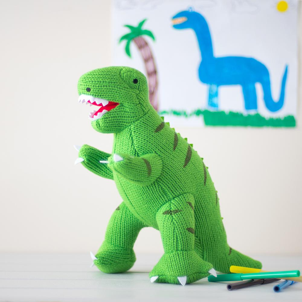 KNITTED LARGE GREEN T REX DINOSAUR SOFT TOY