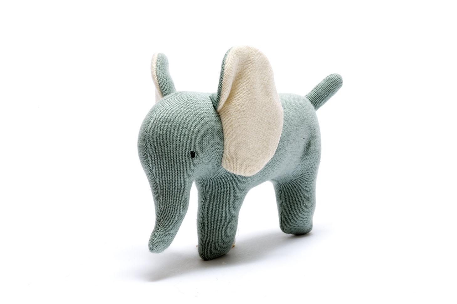 COTTON ORGANIC - SMALL TEAL ORGANIC COTTON ELEPHANT TOY