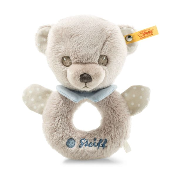 HELLO BABY LEVI TEDDY BEAR GRIP TOY WITH RATTLE IN GIFT BOX