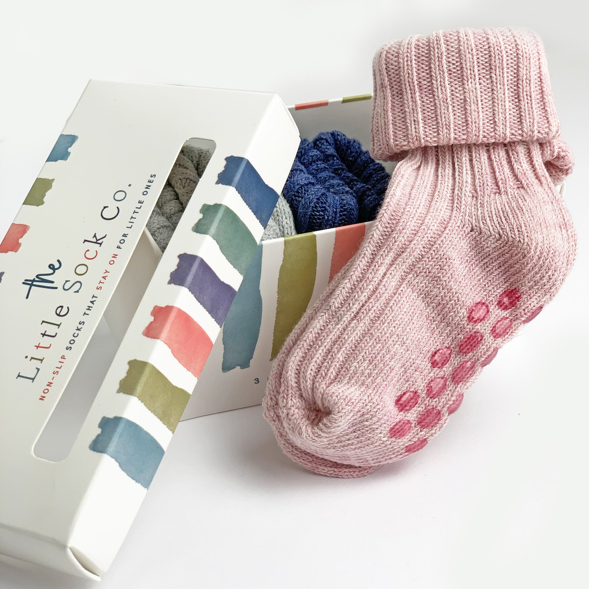 NON-SLIP STAY ON COTTON RIBBIES (3PAIRS) ROSE PINK, CLOUD AND NAVY