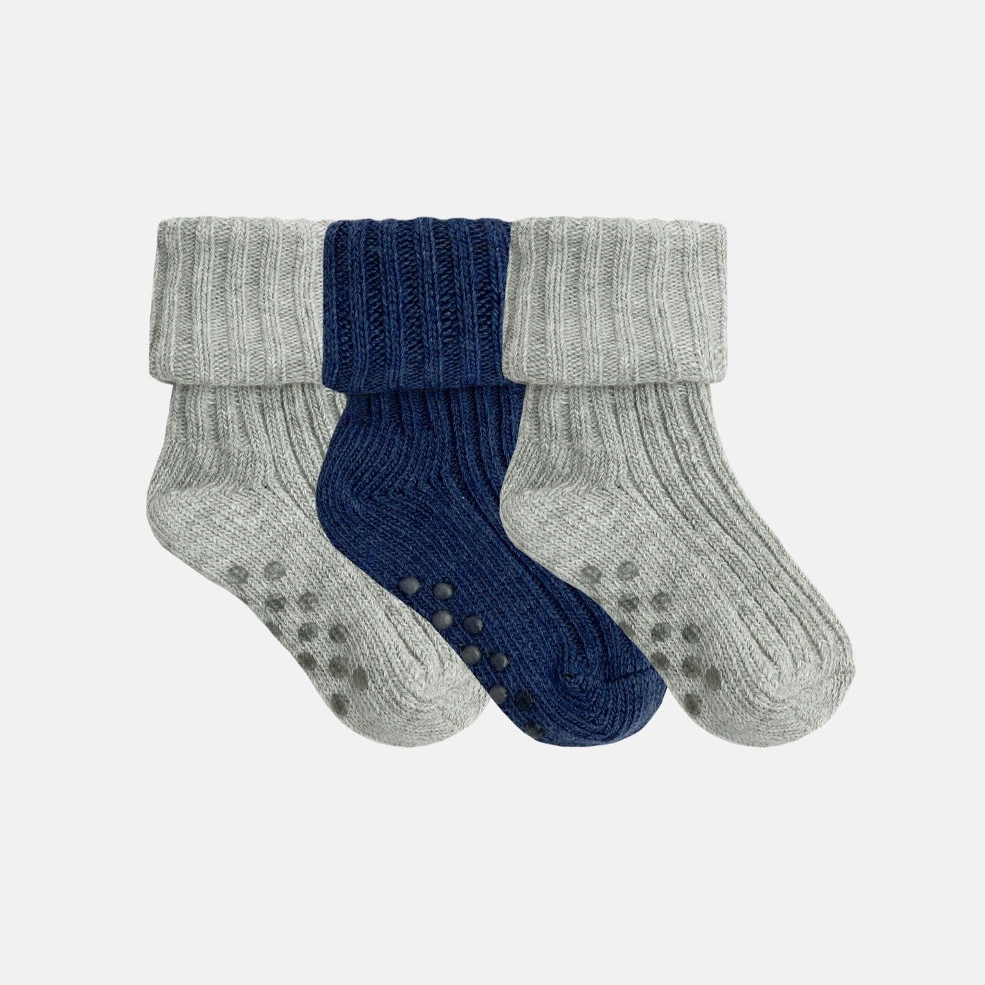 NON-SLIP STAY ON COTTON RIBBIES  (3PAIRS) CLOUD AND NAVY