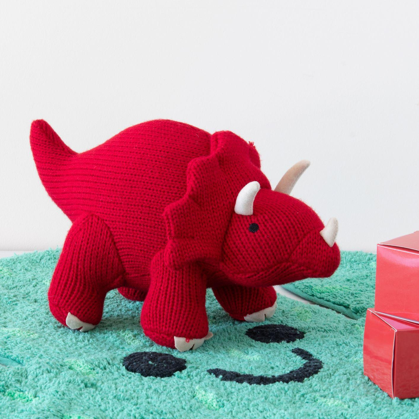 KNITTED LARGE RED TRICERATOPS DINOSAUR SOFT TOY
