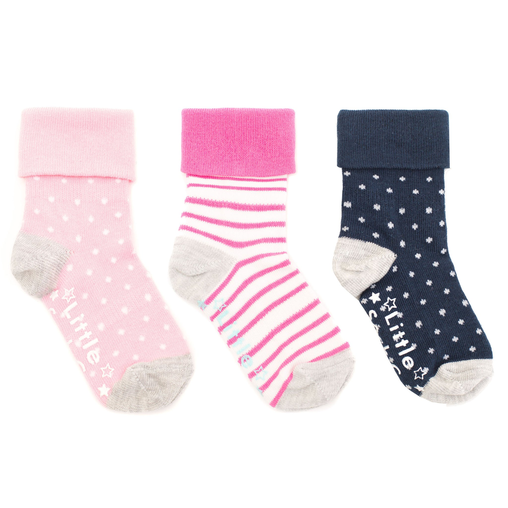 NON - SLIP STAY ON SOCKS - (3 PAIR) POP PINK AND WHITE WIDE STRIPE, CANDY PINK WITH A WHITE PIN DOT AND NAVY WITH A WHITE PIN DOT