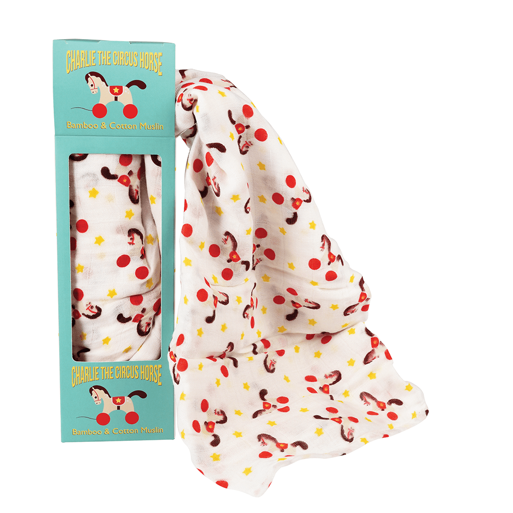 CHARLIE THE CIRCUS HORSE SWADDLING BLANKET