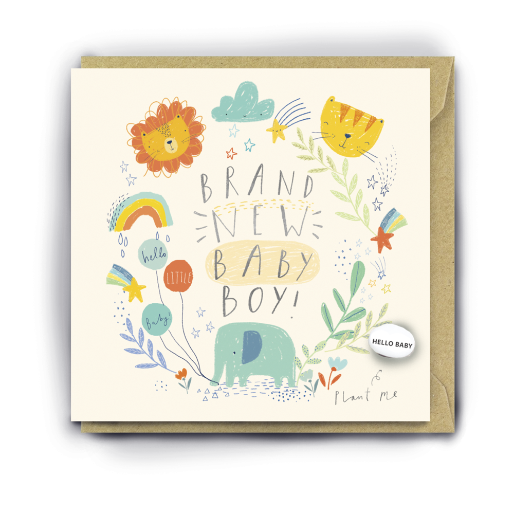 """""""BRAND NEW BABY BOY"""" CARD WITH A PLANTABLE MAGIC BEAN"""