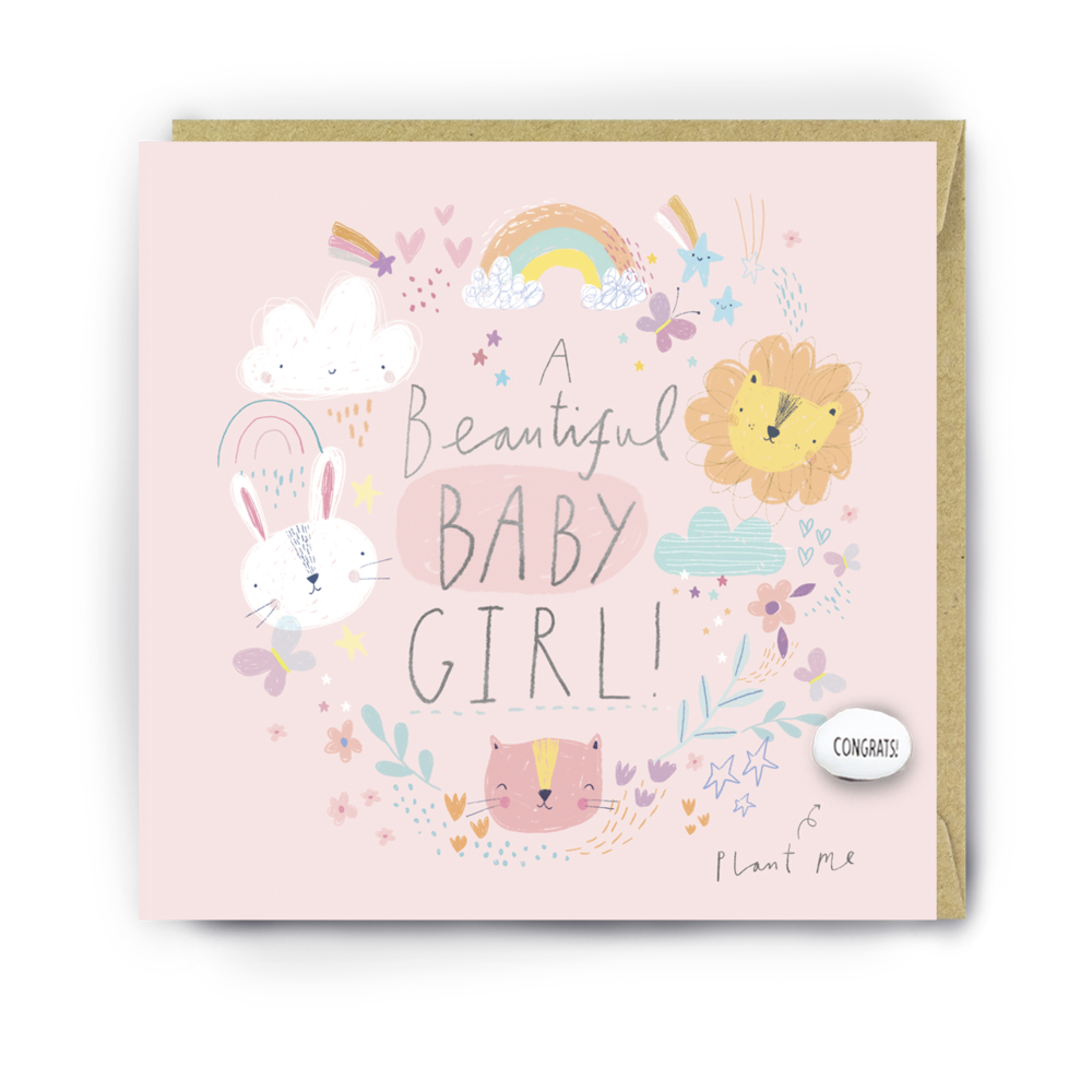 """BEAUTIFUL BABY GIRL"" CARD WITH A PLANTABLE MAGIC BEAN"