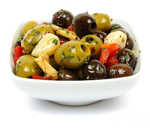 Mixed Olives with Peppers & Garlic (c.150g)