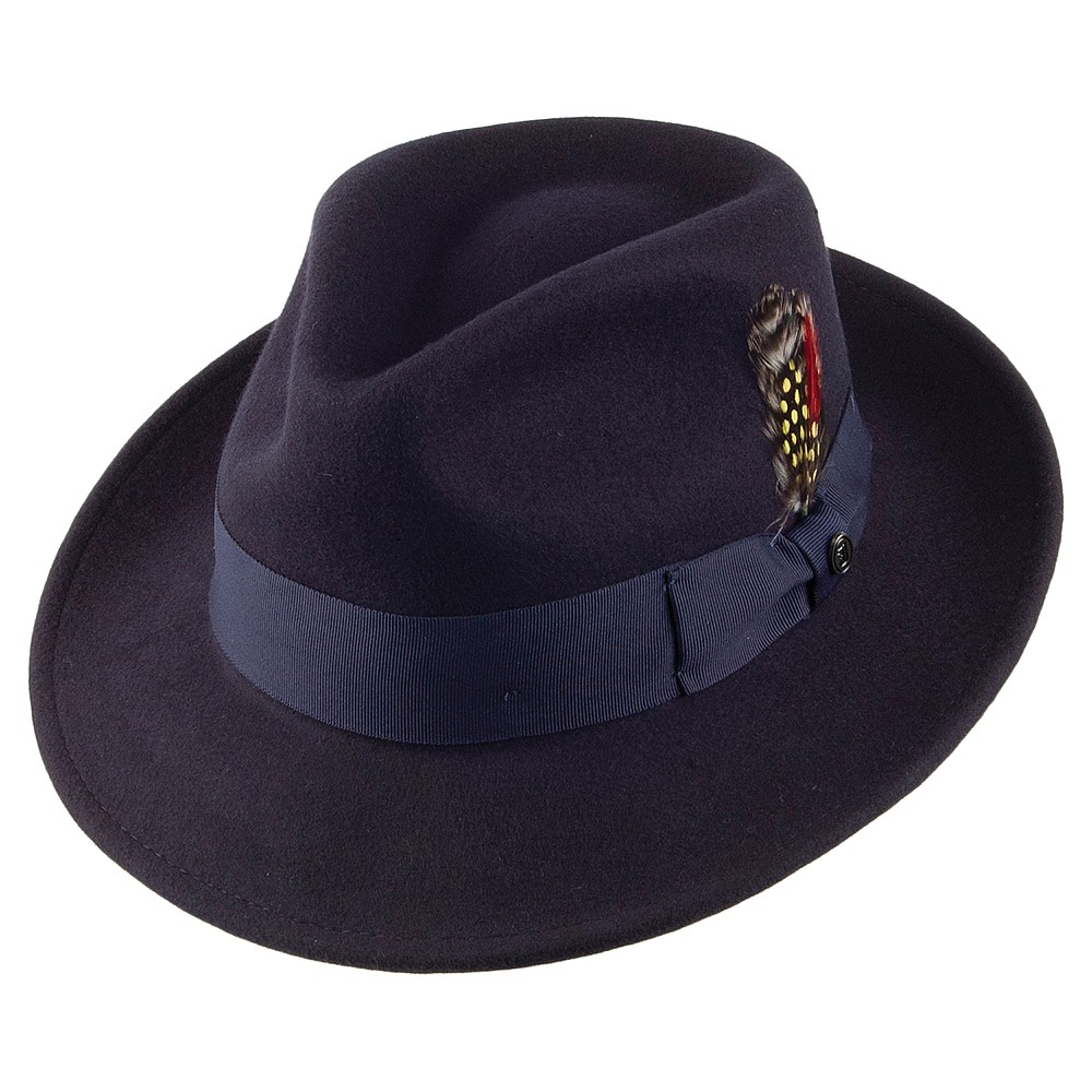 Crushable navy fedora