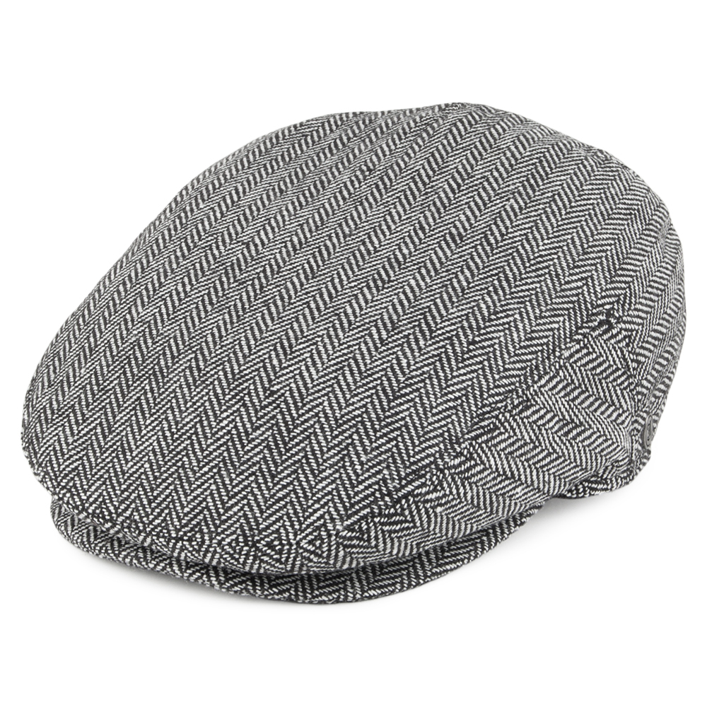 Herringbone grey flat cap