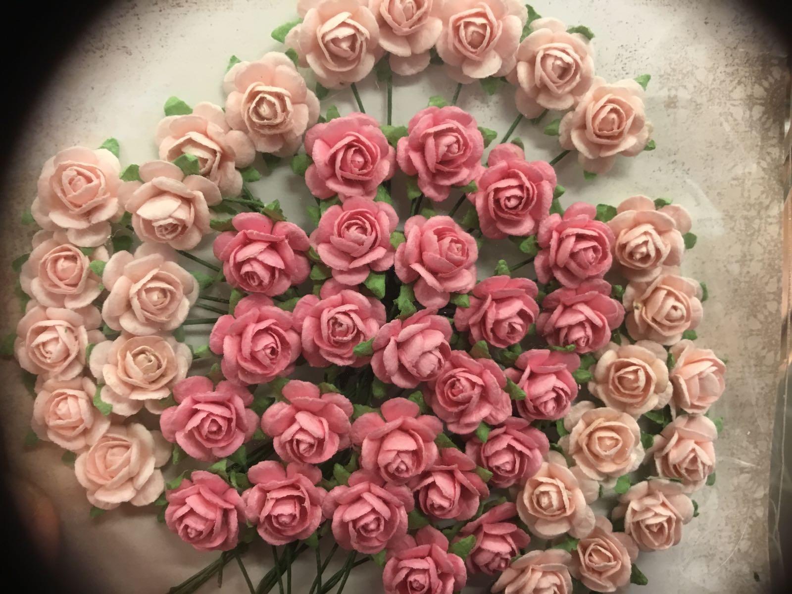 Papirdesign blomst, rose lyserosa/rosa, 1,2cm
