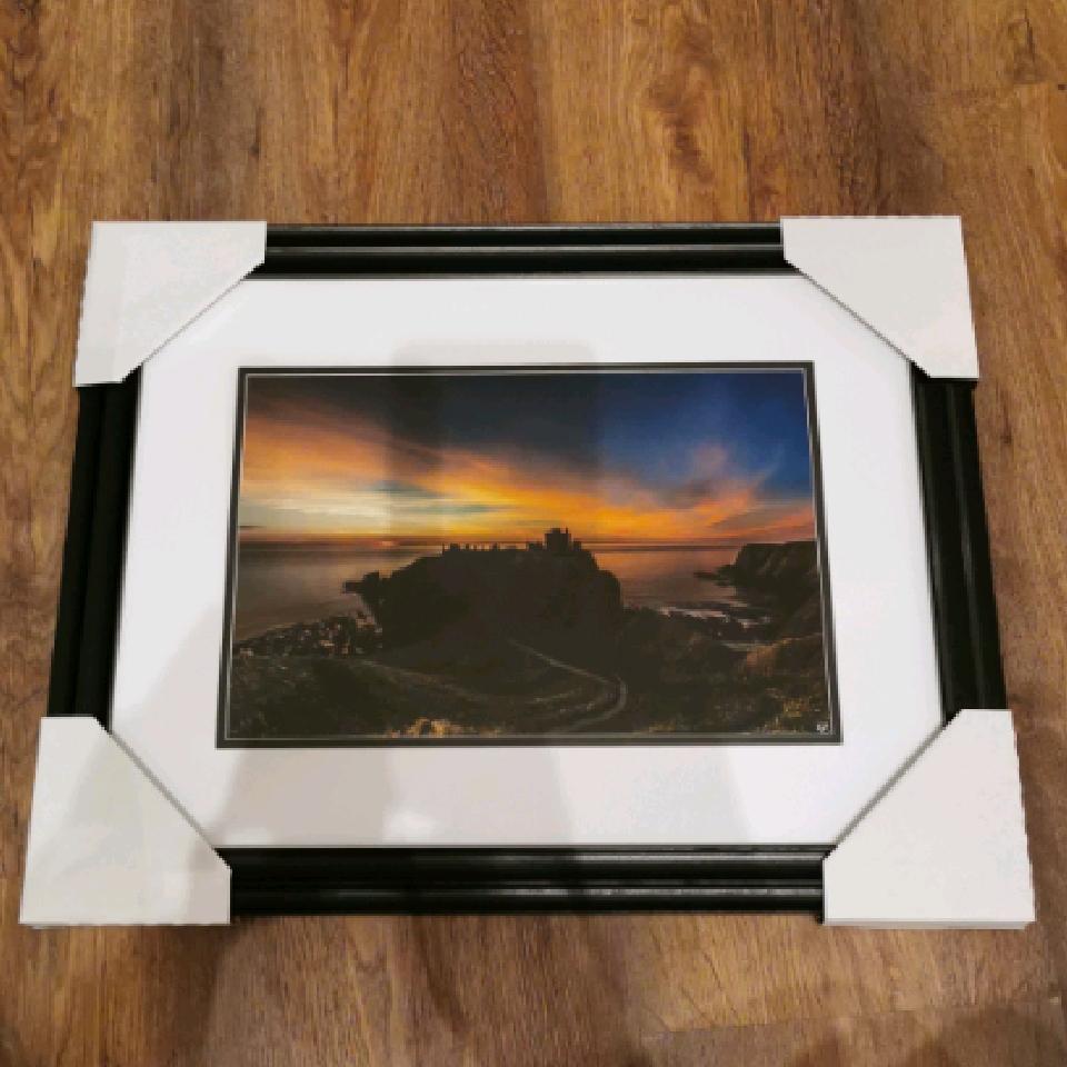 Dunnottar Sunrise, A4, signed, black
