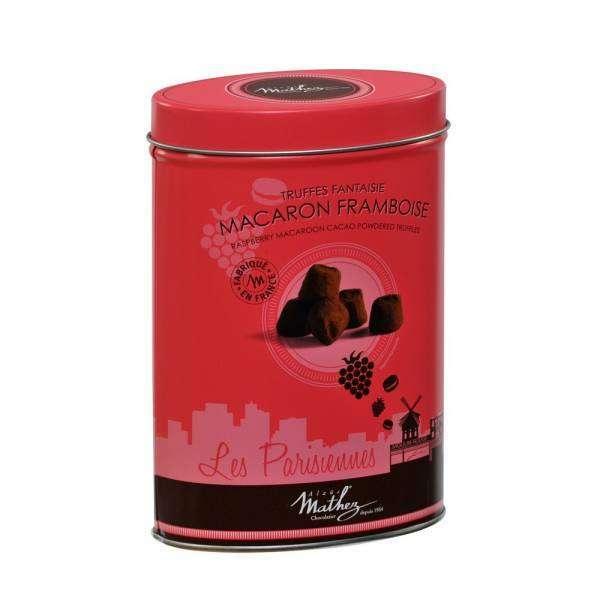 Sjokoladetrøfler med Bringebær-makron, 200g - Mathez (på lager 12. okt)