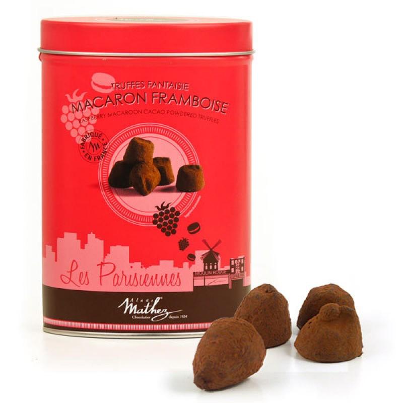 11/ Sjokoladetrøfler med Bringebær-makron 200g *5 - Mathez (kr 79 / stk)