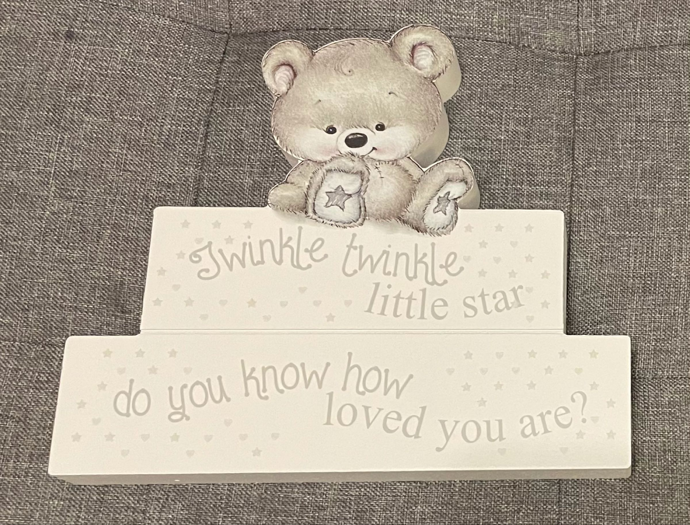 Grey baby bear block decoration  20cmx18cmx2cm