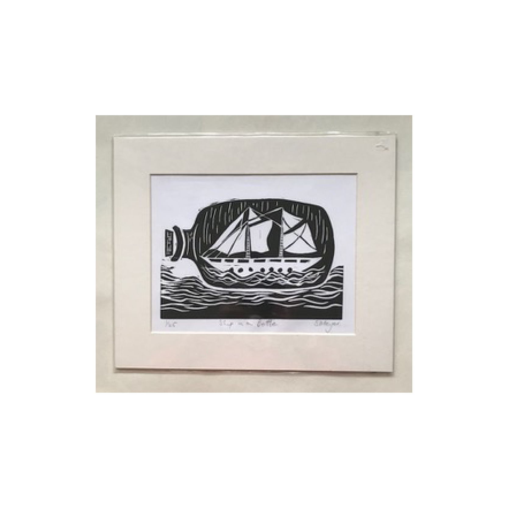 Shirley Meyer - Ship in a Bottle Linocut