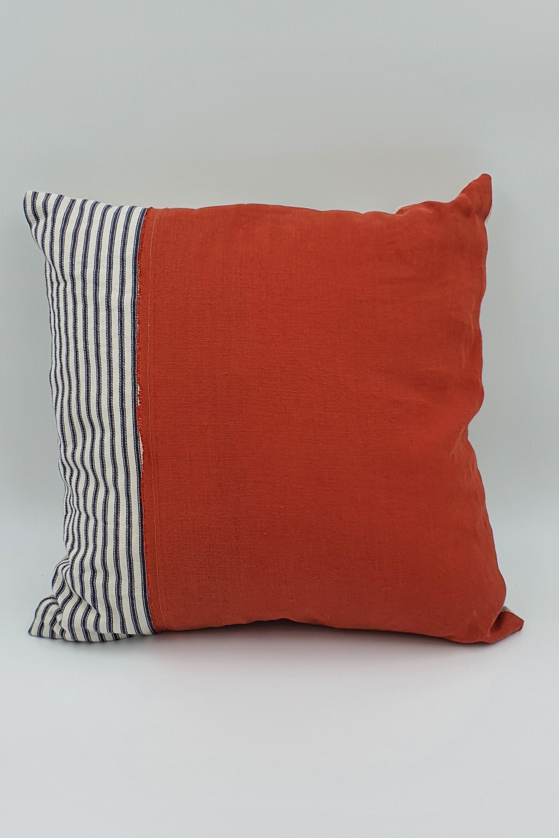 Pebble and stripe Orange square cushion