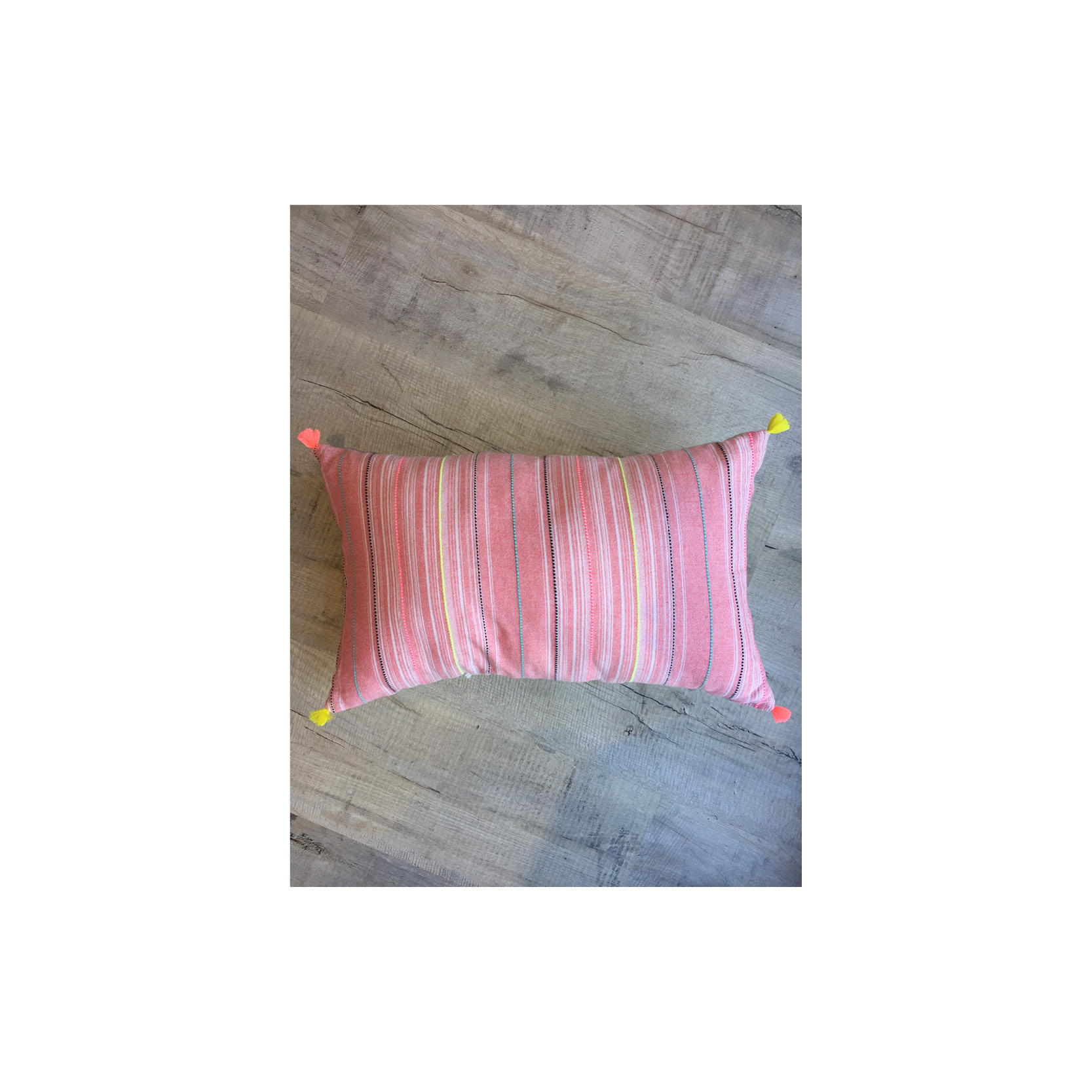 Pebble & Stripe - Rectangular pink stripe  cushion
