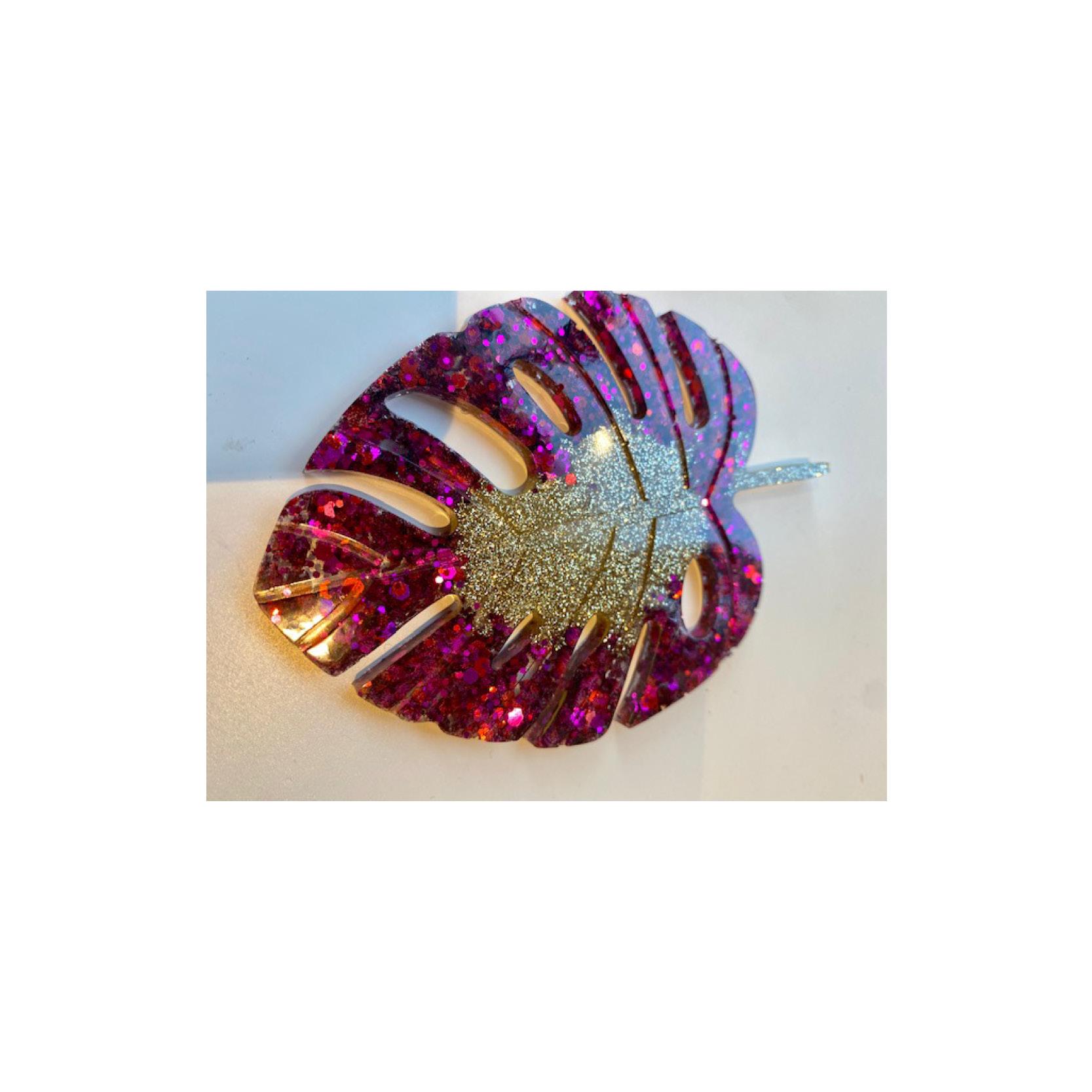 Chantal - Glitter Monstera Leaf coasters GML